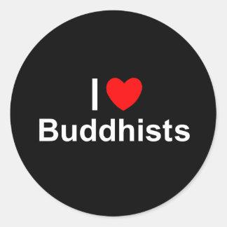 Amo a budistas (del corazón) pegatina redonda