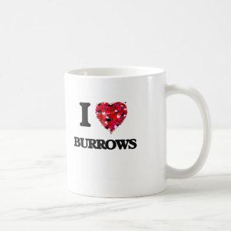 Amo a Burrows Taza Básica Blanca