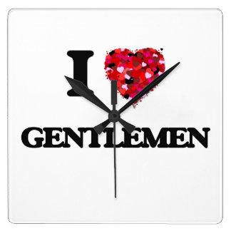 Amo a caballeros reloj cuadrado