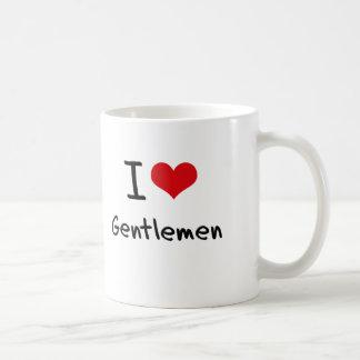 Amo a caballeros taza básica blanca