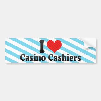 Amo a cajeros del casino etiqueta de parachoque