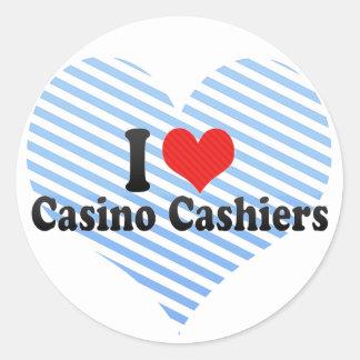 Amo a cajeros del casino etiquetas redondas