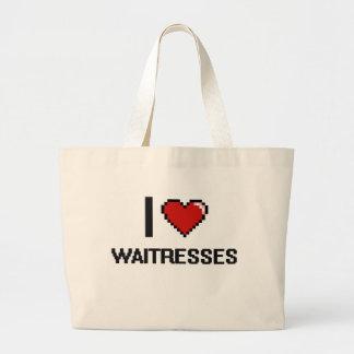 Amo a camareras bolsa tela grande