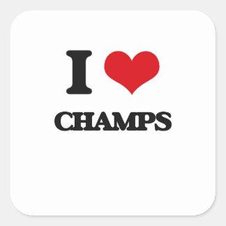 Amo a campeones calcomanías cuadradas personalizadas