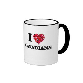 Amo a canadienses taza a dos colores