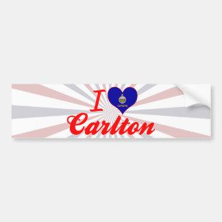 Amo a Carlton Kansas Pegatina De Parachoque