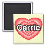 Amo a Carrie. Te amo Carrie. Corazón Iman De Frigorífico