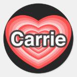 Amo a Carrie. Te amo Carrie. Corazón Etiquetas Redondas