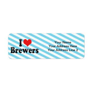 Amo a cerveceros etiquetas de remite