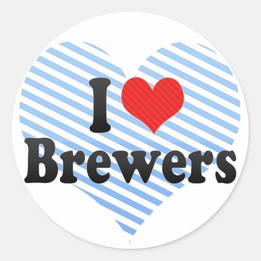 Amo a cerveceros pegatina redonda