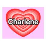 Amo a Charlene. Te amo Charlene. Corazón Postal