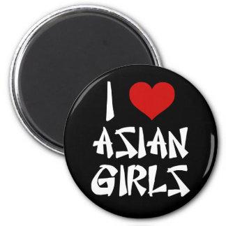 Amo a chicas asiáticos imán redondo 5 cm