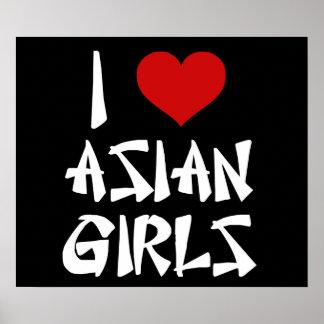 Amo a chicas asiáticos póster