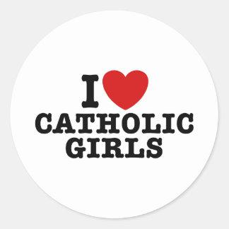 Amo a chicas católicos etiqueta redonda