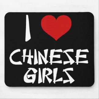 Amo a chicas chinos alfombrilla de raton