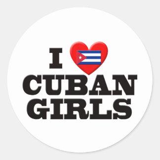 Amo a chicas cubanos pegatina redonda