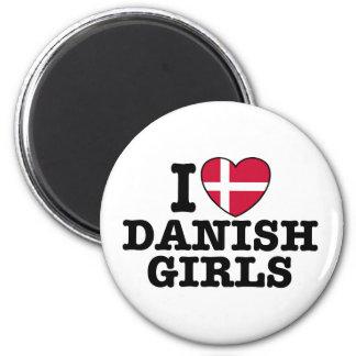 Amo a chicas daneses imán redondo 5 cm