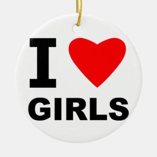 Amo a chicas adorno redondo de cerámica