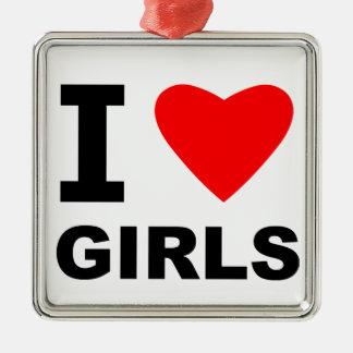 Amo a chicas adorno cuadrado plateado