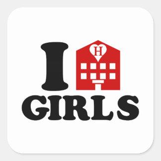 Amo a chicas del hotel pegatina cuadrada