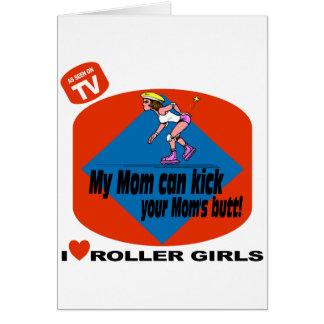 Amo a chicas del rodillo tarjeta de felicitación
