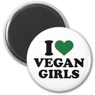 Amo a chicas del vegano imán redondo 5 cm