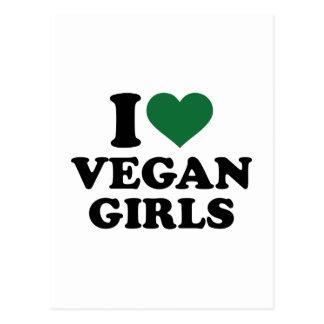 Amo a chicas del vegano tarjeta postal