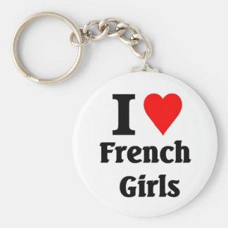 Amo a chicas franceses llaveros personalizados