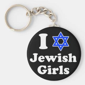 Amo a chicas judíos llaveros personalizados