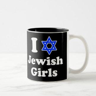 Amo a chicas judíos taza de dos tonos