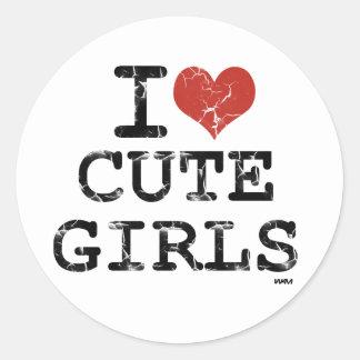 amo a chicas lindos pegatina redonda