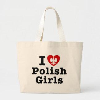 Amo a chicas polacos bolsa tela grande