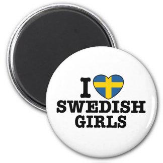 Amo a chicas suecos imán redondo 5 cm