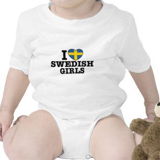 Amo a chicas suecos traje de bebé