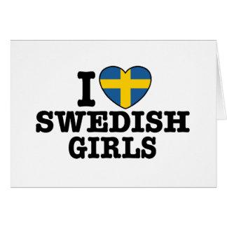 Amo a chicas suecos tarjeta de felicitación