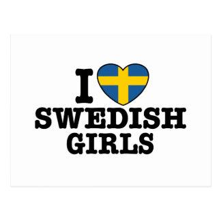 Amo a chicas suecos tarjetas postales