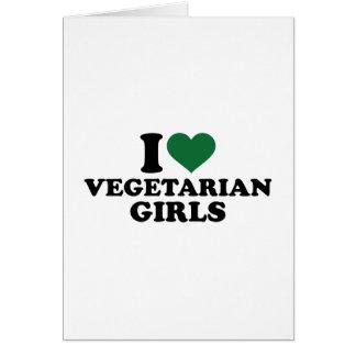 Amo a chicas vegetarianos tarjeta de felicitación