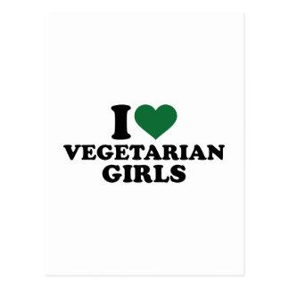 Amo a chicas vegetarianos tarjetas postales