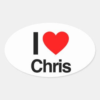 amo a Chris Pegatinas Ovaladas