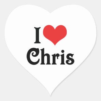 Amo a Chris Calcomanía Corazón Personalizadas