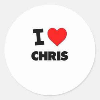 Amo a Chris Etiqueta Redonda