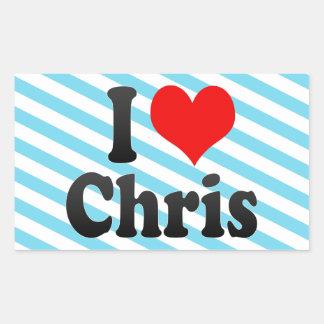 Amo a Chris Pegatina Rectangular