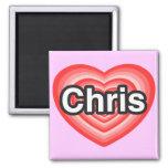 Amo a Chris. Te amo Chris. Corazón Imanes De Nevera