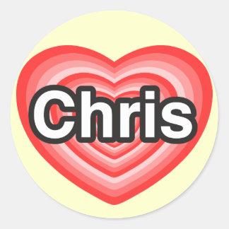 Amo a Chris. Te amo Chris. Corazón Etiquetas Redondas