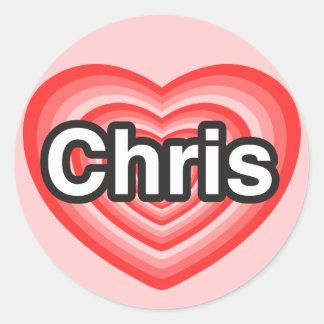 Amo a Chris. Te amo Chris. Corazón Pegatinas Redondas