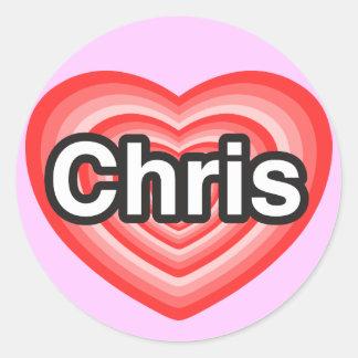 Amo a Chris. Te amo Chris. Corazón Etiqueta Redonda