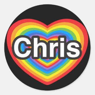 Amo a Chris. Te amo Chris. Corazón Pegatina Redonda