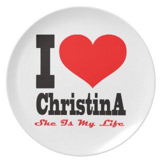 Amo a Christina Ella es mi vida Plato Para Fiesta