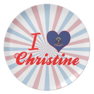 Amo a Christine Dakota del Norte Plato De Cena