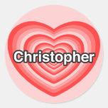 Amo a Christopher. Te amo Christopher. Corazón Etiquetas Redondas